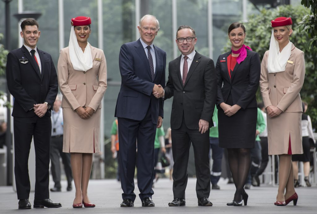 Sir Tim Clark (third left) appeared alongside Qantas CEO, Alan Joyce (third right) on 11th October 2017 to announce changes to a joint venture between Emirates and Qantas. Photo Credit: Emirates