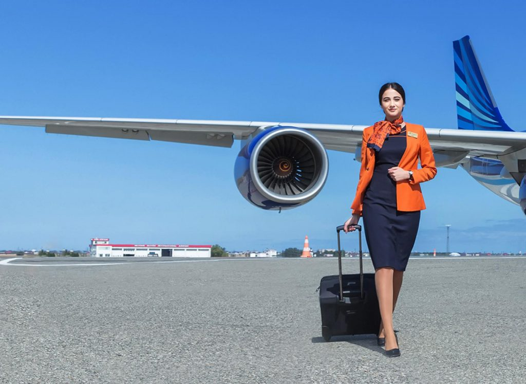 Like many airlines, AZAL makes heavy use of female flight attendants in its marketing material. Photo Credit: Azerbaijan Airlines