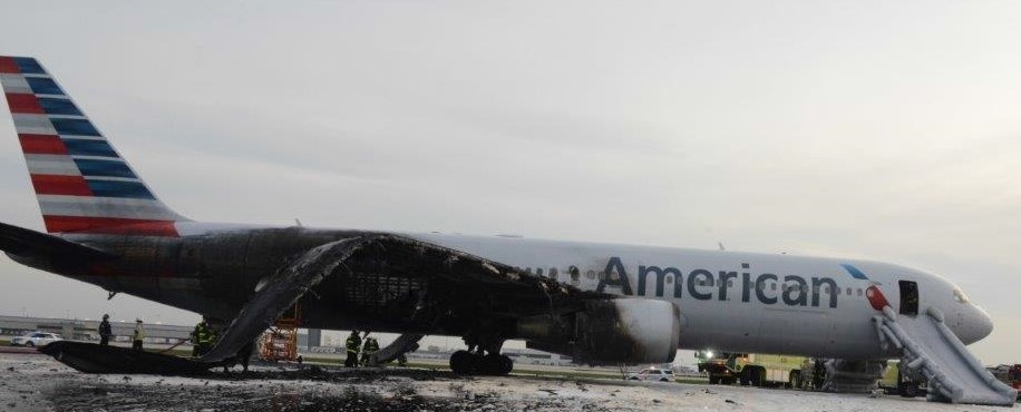 The Boeing 767 involved in the American Airlines flight 383 incident was a total right-off. Photo Credit: NTSB
