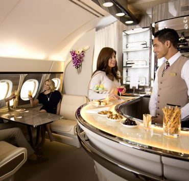 Emirates has unveiled an even more luxurious onboard bar and lounge for its A380 aircraft