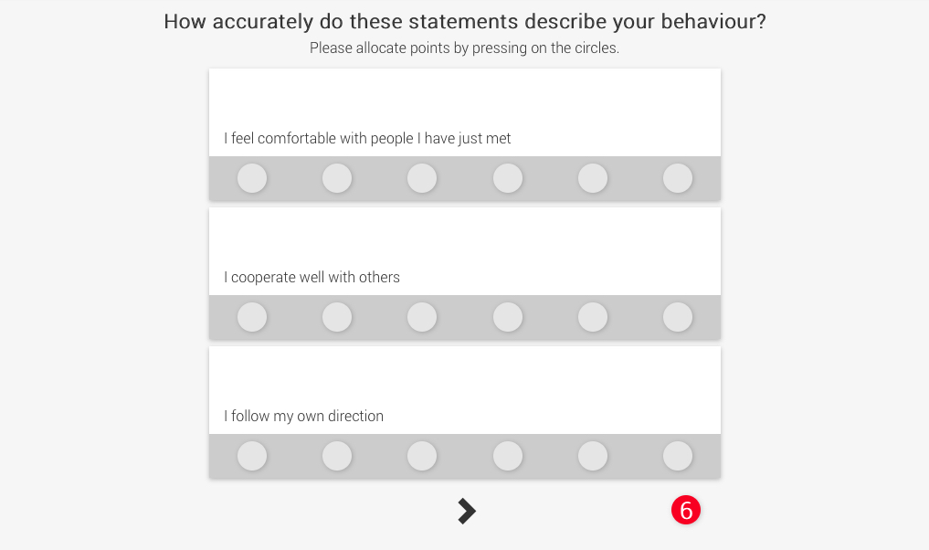 An example of a typical cabin crew personality test. How would you award the 6 points across these three statements?