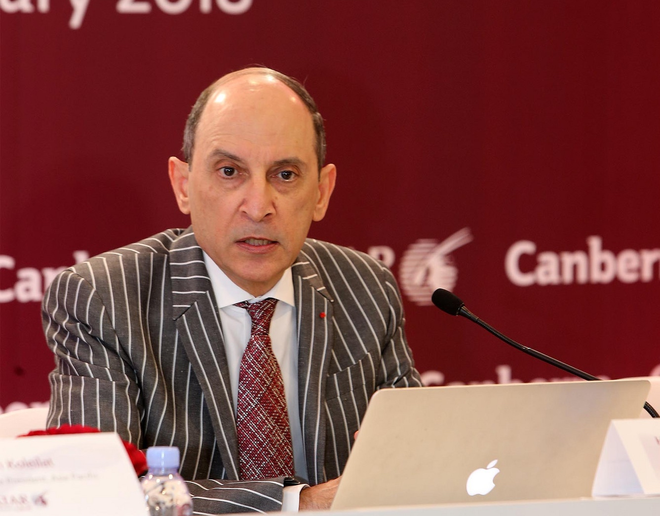Akbar Al Baker speaking in Canberra, Australia at the launch of his airline's fifth route to the country. Photo Credit: Qatar Airways