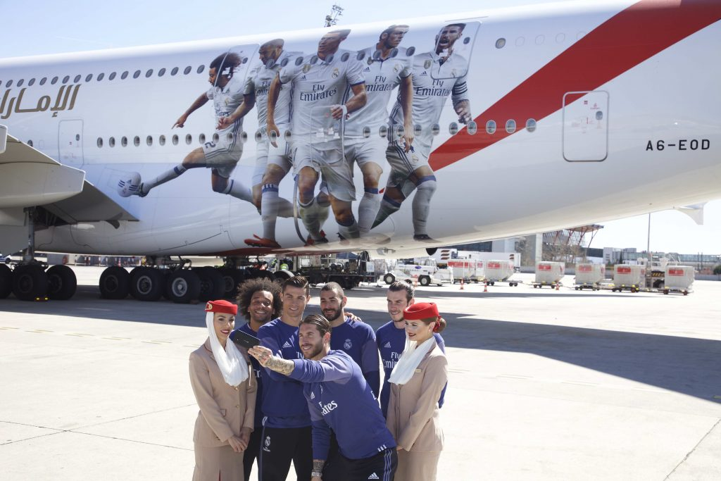 As part of the Emirates sponsorship deal with Read Madrid, the airline has an A380 with a special decal of the club's star players. Photo Credit: Emirates