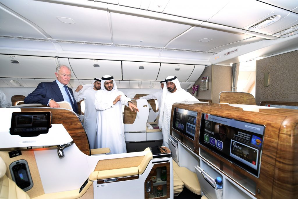 Sir Tim Clark, shown left, reviews the new Business Class on Emirates' Boeing 777-200
