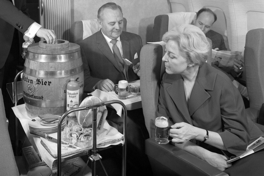 Serving beer from a keg was a tradition that passengers would routinely enjoy in the 1960's. Photo Credit: Lufthansa