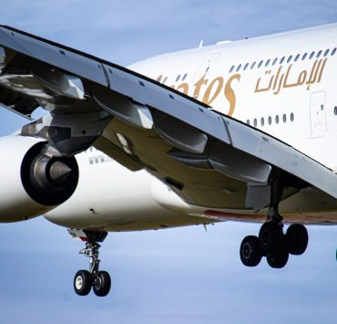 Close up of an Emirates Airbus A380 coming into land
